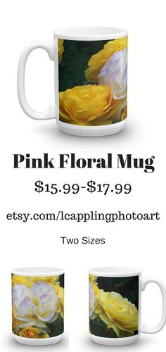A beautiful coffee mug covered in yellow roses in my #etsy, Coffee Mug, Modern Photo Mug, Two Sizes, Yellow Roses, Yellow Mug, White Flower, Mother's Day Gift, Birthday Gift, Printed Mug https://etsy.me/2pRWZ8A #housewares #yellow #birthday #mothersday #white #coffee