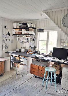 Home office studio creative workspace inspiration 28 Super Ideas Workspace Design, Office Workspace, Home Office Design, Office Designs, Office Ideas, Office Inspo, Office Spaces, Office Decor, Vintage Industrial Decor