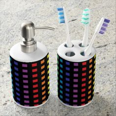 Mini Rainbow Squares Black Soap Dispenser And Toothbrush Holder - red gifts color style cyo diy personalize unique