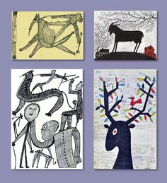 Animals in outsider art: left two drawings by Ernst Kolb, right on top a…