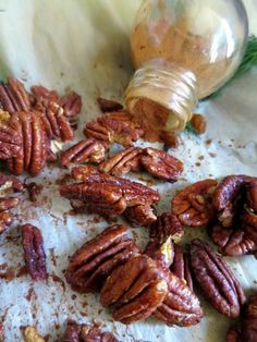 quick and easy roasted cinnamon candied pecans  ~Scant 1/4 tsp Cinnamon ~No Salt ~Banke for 12 minutes