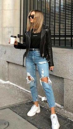 Spring Fashion Casual, Winter Fashion Outfits, Look Fashion, Street Fashion, Trendy Fashion, Cool Fashion Style, Modern Fashion Outfits, Fashion Blogger Style, Jeans Fashion
