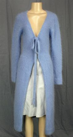 Guess Collection Angora Sweater Coat Long Cardigan Baby Blue Fuzzy Sz L Tiefront | eBay
