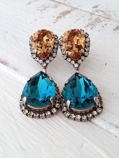 Teal and topaz crystal earrings | Dark teal and topaz drop earrings by EldorTinaJewelry | http://etsy.me/1Uof09y