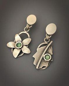 Sterling Mismatched Earrings Botanical Jewelry Bohemian | Etsy Earrings Photo, Women's Earrings, Jewelry For Her, Unique Jewelry, Bohemian Style Jewelry, Turquoise Jewelry, Artisan Jewelry, Sterling Silver Jewelry, Sisters
