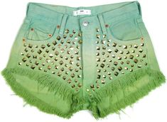 STUDDED OMBRE SHORTS High waisted denim shorts hand by DSMjeans