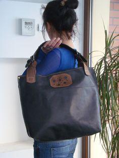 BIG BLACK LEATHER bag handmade ladybuq by ladyBuq on Etsy, $145.00