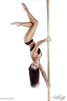 Andrea Ryff - Cupgrip Handspring  Photo courtesy of Don Curry/Don Q Photography  #pole #poledancer #poletrick