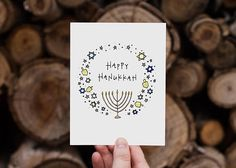 Happy Hanukkah Wreath Card by lacelit.com | In celebration of Hanukkah, send a little peace and light through the post. The enchanting menorah and stars will brighten any December night. // Hanukkah cards handmade Chanukah menorah products dreidel illustration Jewish life star of David nes gadol