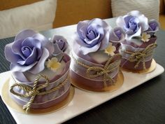 Violet Rose Mini Cakes by Sliceofcake.deviantart.com