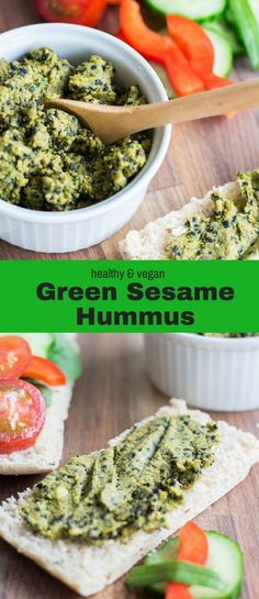 Try this delicious Green Sesame Hummus made from 9 simple ingredients, including tahini, cumin, spinach and roasted sesame seeds. #snack #side #healthy #vegan #dips #recipes