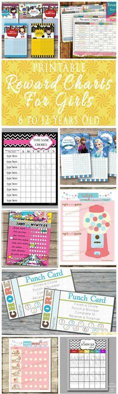 Printable Reward Charts For Kids 6 To 12 Years Old - Reward Charts, Behavior Cahrts, Homework Charts, Chore Charts And Punch Cards