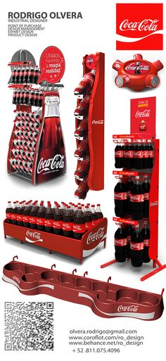 POP designs by Rodrigo Olvera, via Behance Coca Cola. I like how he used half of the bottle's shape to be the structure for the POP, it's beautifully curvy. Pos Display, Display Design, Product Display, Shelf Display, Booth Design, Banner Design, Pop Design, Stand Design, Stop Rayon