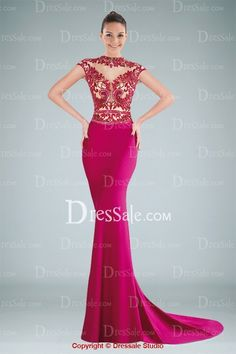 Fanciful Illusion Jewel Neckline Short Sleeves Sheath Evening Dress with Delicate Beaded Applique