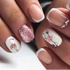 Nail Designs Spring, Nail Art Designs, Chic Nails, Diamond Nails, Cute Acrylic Nails, Flower Nails, Mani Pedi, Spring Nails, Toe Nails