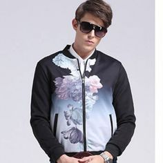 Mens flower bomber jacket for autumn printing coat Printed Bomber Jacket, Black Bomber Jacket, Cheap Flowers, Winter Wear, Printing, Autumn, Coat, Long Sleeve, Jackets