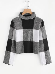 To find out about the Funnel Neck Plaid Sweater at SHEIN, part of our latest Sweaters ready to shop online today! Cropped Pullover, Cropped Sweater, Long Sleeve Sweater, Pullover Sweaters, Long Sleeve Shirts, Women's Sweaters, Turtleneck Style, Winter Sweaters, Sweater Shirt