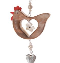 Hen & Heart Hanging Decoration-Natural Wood