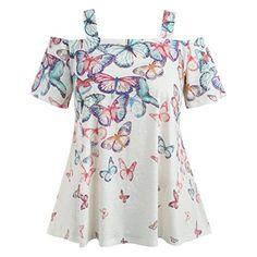 0a1d5c9b5c993b VEMOW Sommer Grace Damen Mädchen Frauen Offene Schulter Plus Size Casual  Täglichen Party Schmetterling T-