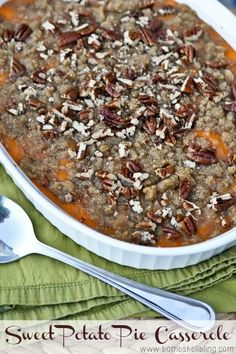 This Sweet Potato Pie Casserole for Thanksgiving dinner is AMAZING and so easy!