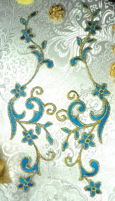 "$5.99--9""x3""--GB90 MIRROR PAIR Turquoise Gold Metallic Flower Vine Iron On Designer Embroidered Applique--Glory'sHouse"