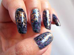 Blue Black Gold nail foil transfer over Nyx Girl Algae. Click the image for more!