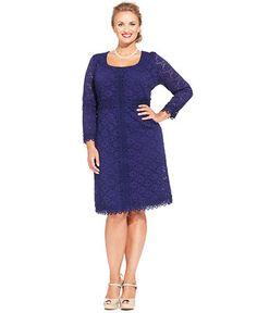 Alfani Plus Size Three-Quarter-Sleeve Lace-Overlay Dress - Dresses - Plus Sizes - Macy's