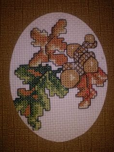 Completed Cross stitch card//Fall Acorns//Unique by CraftyDaisey, $6.50