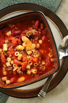 This Olive Garden Pasta e Fagioli Soup Copycat Recipe tastes just like the original. It is a hearty, Italian-seasoned soup easily made in a slow cooker.