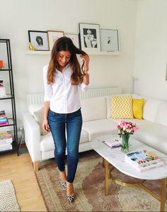 Mimi Ikonn | White button down blouse, jeans, leopard print heels | OOTD