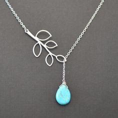 lovely turquoise/branch necklace by LilliDolli on etsy Branch Necklace, Lariat Necklace, Teardrop Necklace, Bijou Box, Christmas Necklace, Bijoux Diy, Bridal Necklace, Turquoise Jewelry, Silver Necklaces