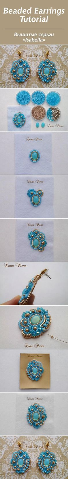 """Мастер-класс: вышитые серьги """"Isabella"""" Prob don't know enough about beading to figure this out; Jewelry Making Tutorials, Beading Tutorials, Embroidery Jewelry, Beaded Embroidery, Jewelry Patterns, Beading Patterns, Kumihimo Bracelet, Bead Embroidery Tutorial, Beaded Jewelry"""