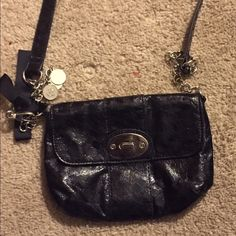 NY&CO Black Metallic Purse This cute little crossbody can can be used to go out on that special nite. New York & Company Bags Crossbody Bags
