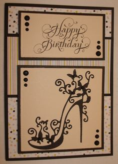 G057 Hand made birthday card using tattered lace shoe die. By Linda Fraser