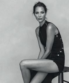 Christy Turlington models Versace dress with button embellishments