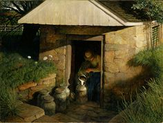 """lilacsinthedooryard:    """"The Spring House"""" 1944 by N.C. Wyeth by Plum leaves on Flickr."""