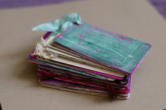 """create a """"deck of you"""" - make an art journal on a deck of cards - with one card to be used for every week of the year. Then consider making yourself a precious fabric pouch to hold your deck"""