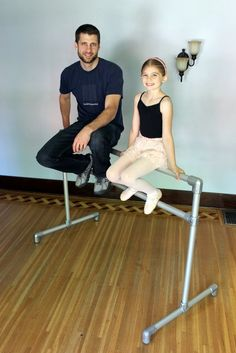 DIY Freestanding Ballet Barre | This construction method would work for a garden plant rack too, I think, although you might want the bases to be longer.