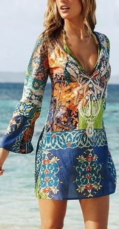 2016 Summer Style Women Sexy Swimsuit Cover Up Long Sleeve Bikini Cover Ups Chiffon Flower Beach Mini Dress Robe Vestidos - XL Source by CreativeDreamscape cover ups Beachwear Vacation Dresses, Beach Dresses, Casual Dresses, Dress Beach, Beach Tunic, Beach Skirt, Boho Dress, Vacation Clothing, Vacation Wear