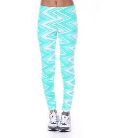 Another great find on #zulily! White Mark Mint Zigzag Leggings by White Mark #zulilyfinds