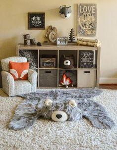 Nursery Rug / EXTRA LARGE / Gray Bear Rug / camping room