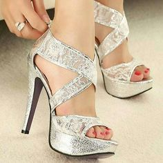 Silver Lace Criss Cross Heels Wedding High Prom Homecoming