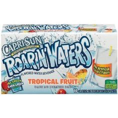 Capri Sun Roarin'Waters Flavored Water Beverage, Tropical Fruit, 10-Count, 6-Ounce Pouches (Pack of 4) (Grocery) http://www.amazon.com/dp/B002UPZ2QU/?tag=wwwmoynulinfo-20 B002UPZ2QU