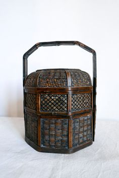 Vintage Antique Chinese Bamboo and Wicker-3 Tier by Sansprix