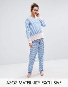 ASOS Maternity Stripe Long Sleeve Pyjama Set