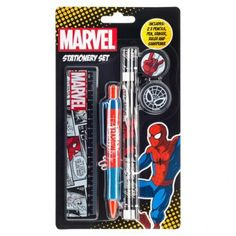 Make your school work fun with this cool Spiderman Stationery Set. It has everything you need to get started, inlcuding a pancil, pen, eraser, ruler and sharpener - all of which feature one of our favourite web slinging superhero Spiderman in an iconic st Superhero Spiderman, Stationery Set, Fun At Work, Make It Yourself, Cool Stuff, How To Make