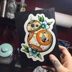 haleybearstattoo, BB-8 traditional tattoo, star wars