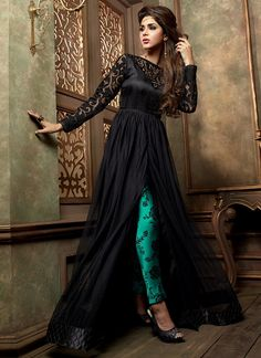 Monumental Black Net Pant Style Churidar Suit