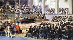 Inauguración de los Estados Generales de 1789 en la sala de los Menus-Plaisirs, en Versalles.