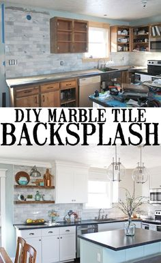 Tips, tricks and what NOT to do when installing your own marble tile backsplash. This post has so much good information and the whole kitchen remodel is inspiring... they did it all themselves on a budget! #kitchenremodel #kitchenrenovation #diybacksplash #backsplash #kitchenremodelonabudget #weekendwarriors #kitchen